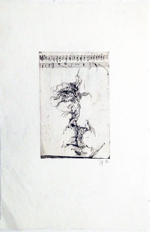Horst Jansen - Sebst mit Noten 1972 31 x 47 cm