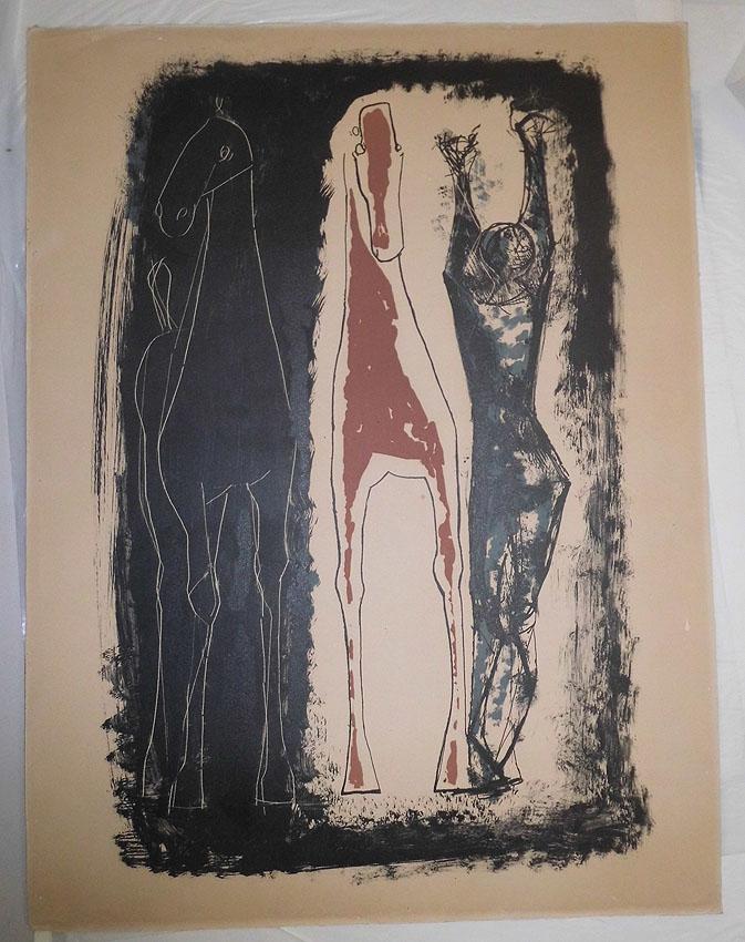 Mario Marini Litho auf Karton 49 x 66 cm Kestner-Gesellschaft 1953