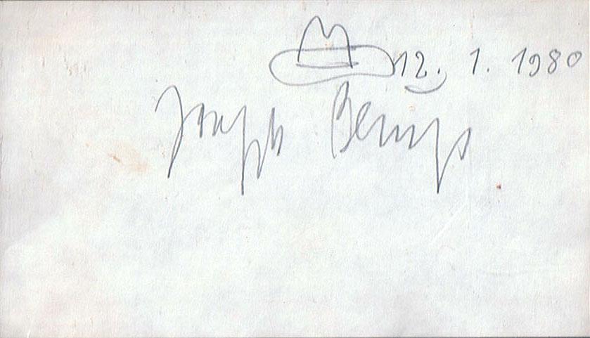 Joseph Beuys Signatur mit Hut 12.1.1980 (Parteitag der Grünen) 15,6 x 9 cm