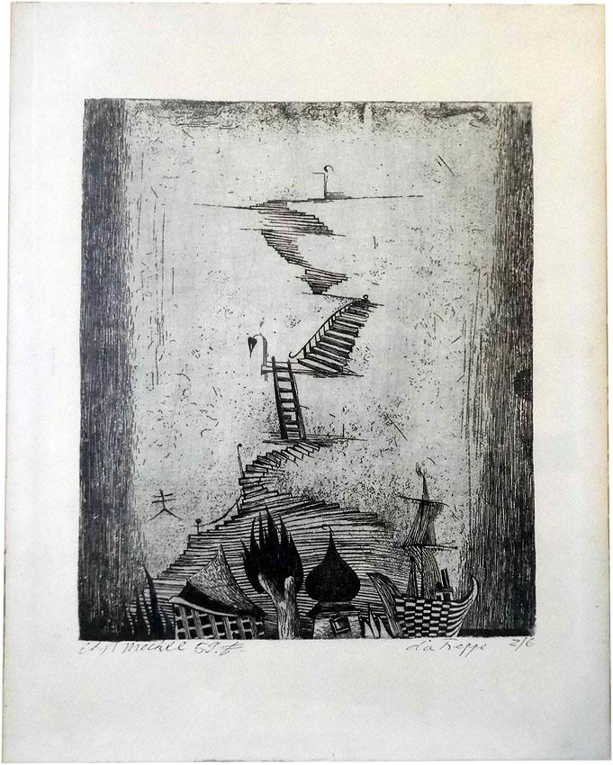 Christoph Meckel Radierung 'Die Treppe' 29 x 37 cm