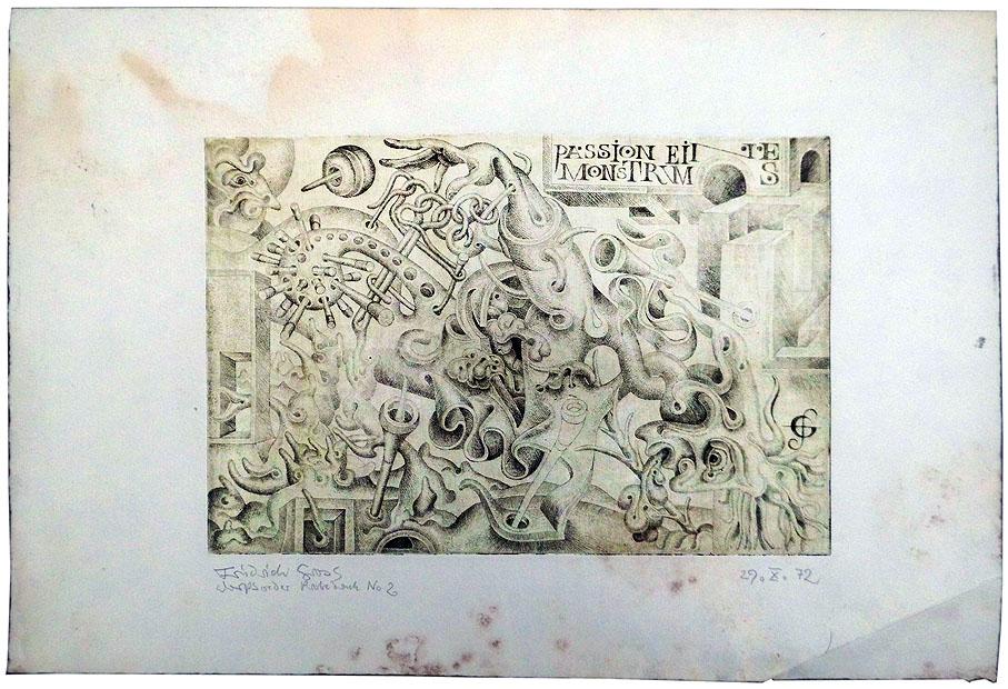 Friedrich Groß Radierung 1972 29 x 26 cm