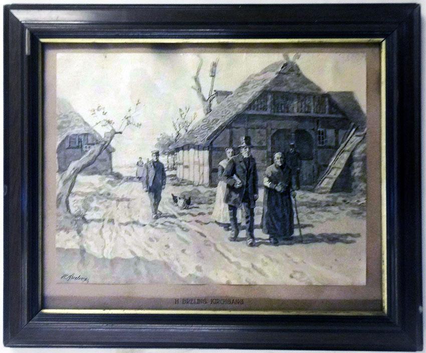 Heinrich Breling 'Der Kirchgang' Lichtdruck 26 x 35 cm. Jahresgabe Kestner-Gesellschaft Hannover 1911