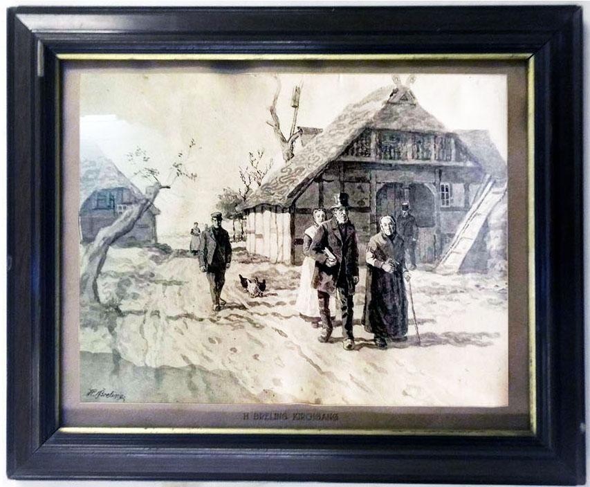 Heinrich Breling 'Der Kirchgang' Lichtdruck 26 x 35 cm Jahresgabe Kestner-Gesellschaft Hannover 1911