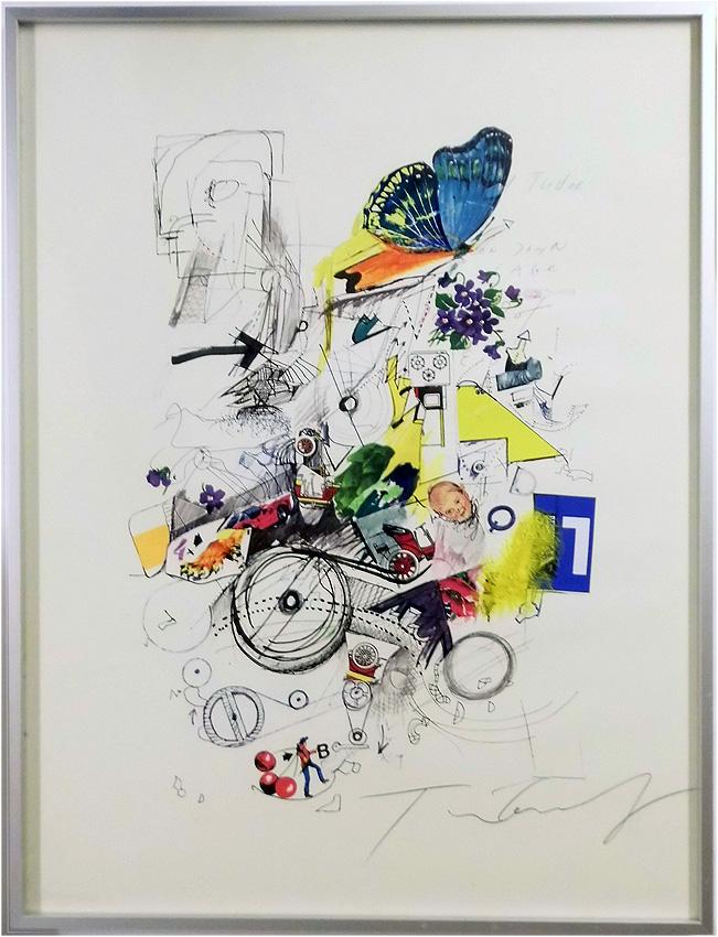 Siebdruck mit aufgeklebtem Material, Kugelschreiber 50 x 68 cm