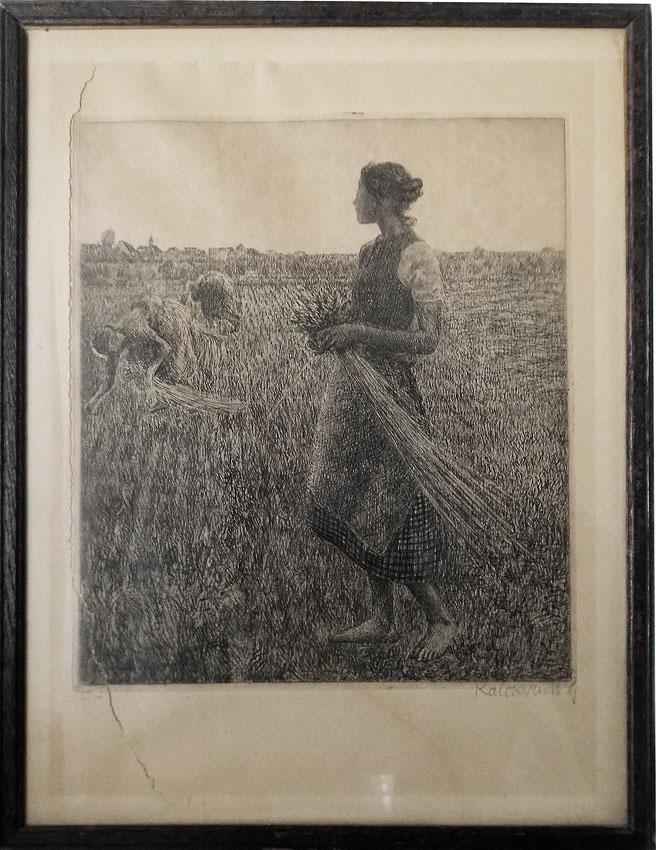 Leopold Graf von Kalckreuth 'Die Ährenlesering' Radierung 1894 27 x 36 cm