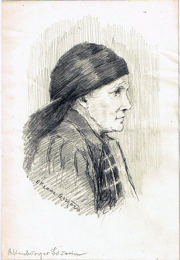 E. Kranz-Gerhard 'Altenburger Bäuerin' Bleistift auf Papier 15 x 23 cm