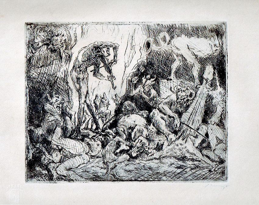 Max Slevogt Radierung 'Höllenkonzert' 1924, 31 x 25 cm