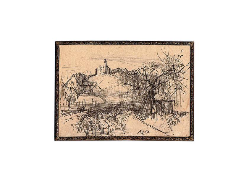 Bruno Müller-Linow 1967 Kugelschreiber auf Postkarte 10,5 x 14,8 cm