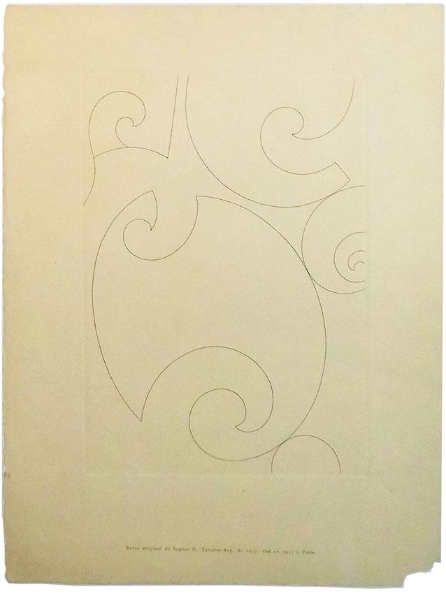 Sophi H.Taeuber-Arp 'Komposition' Kupferstich auf Bütten 38,3 x 28,6 cm  Kestner-Gesellschaft 1955