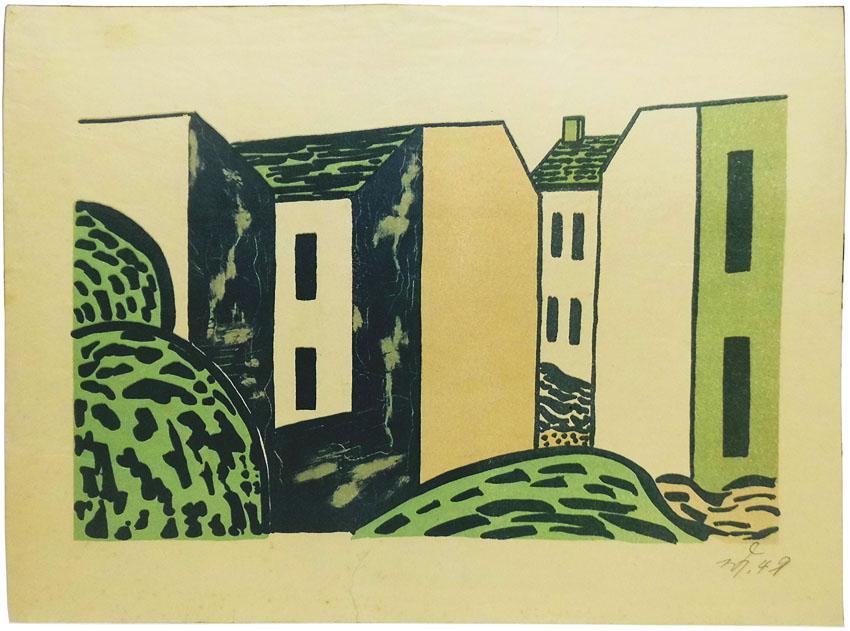 Werner Heldt Lithographie 'Hinterhäuser' 22 x 16 cm Jahresgabe Kestner-Gesellschaft Hannover 1949