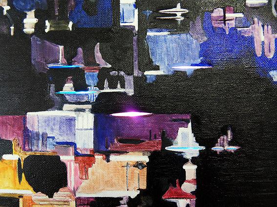Detail: farbwechselndes Licht in Schlitze