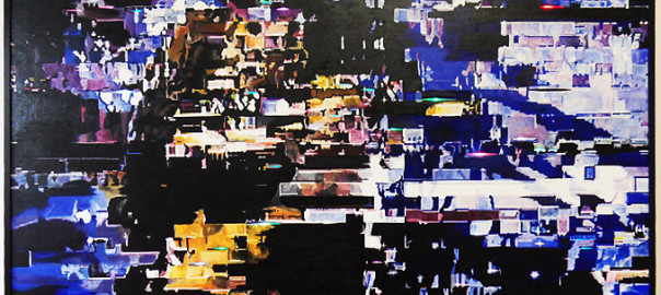Oil on Canvas (slit) + 50 color changeing LEDs 2012, Size: 108 cm x 152 cm