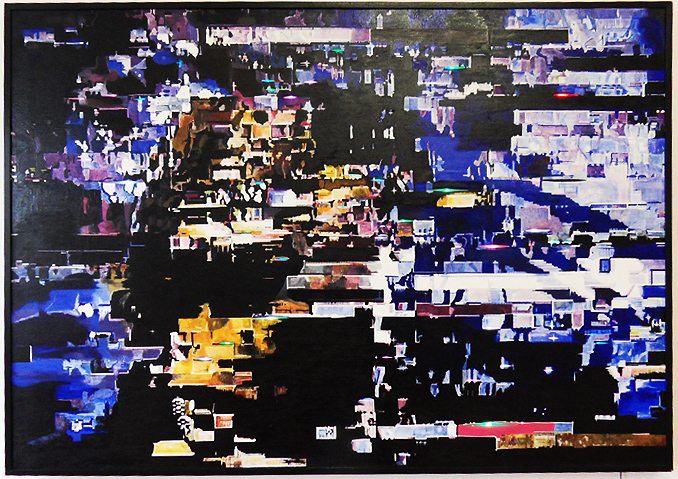 Oil on Canvas (slit) + 50 color changeing LEDs 2012, Size: 108 cm x 152 cm
