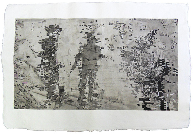 Glitch-art ink drawing