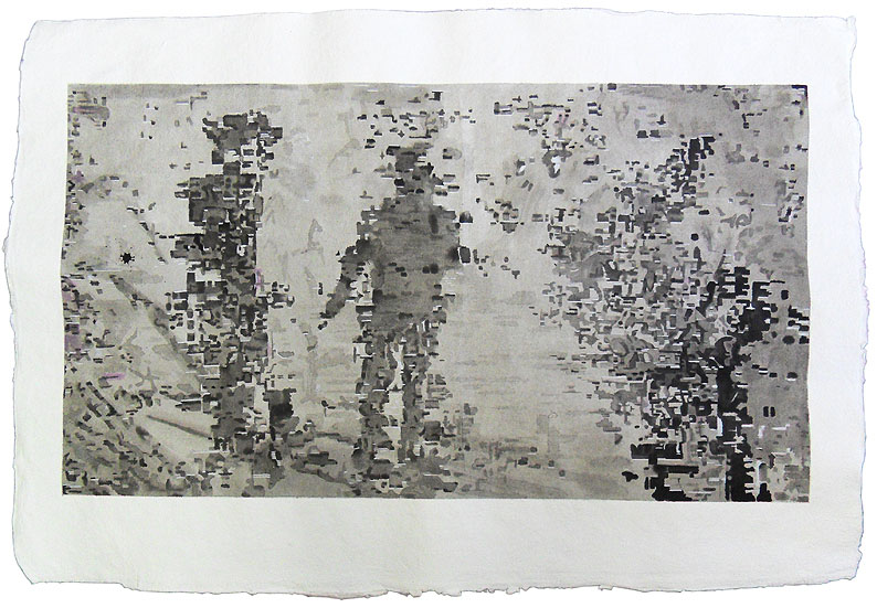 People, ink on hand made paper 2012, size: 102 x 70 cm