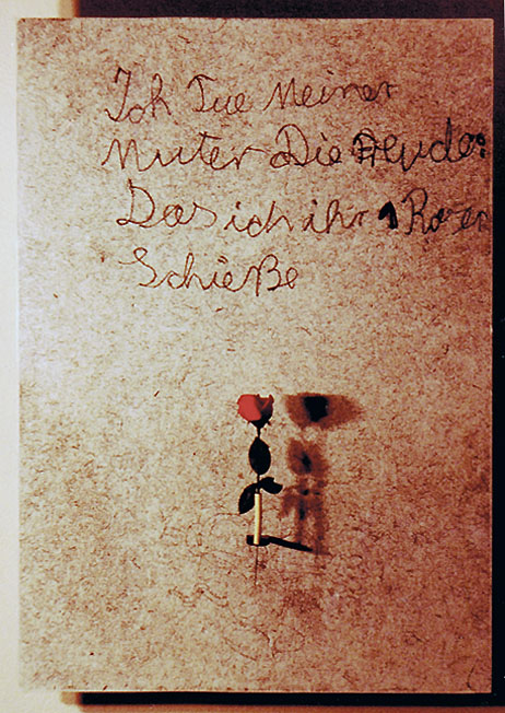 Rose, Repro auf Holz, Seidenrose, size: 120 x 85 cm, K3 auf Kampnagel, Hamburg 1992
