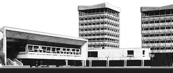 Das Ensemble Rathaus Marl mit Faltdach zur Prevention von Absenkungsschäden