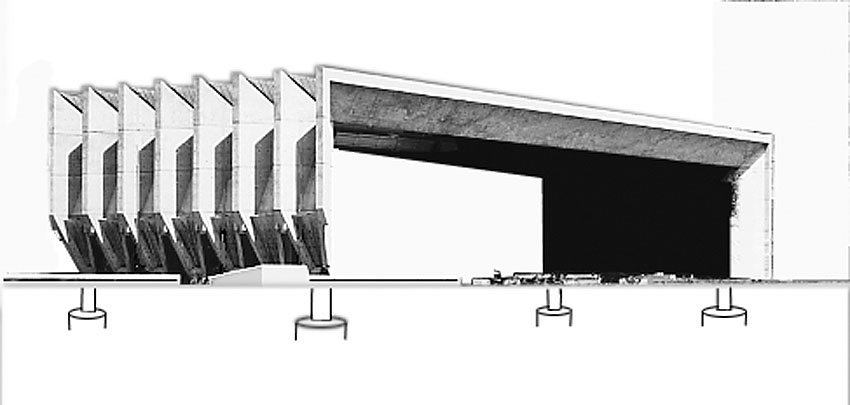 Das Faltdach ruht auf Hydraulikpumpen zum Ausgleich bei Absenkungen