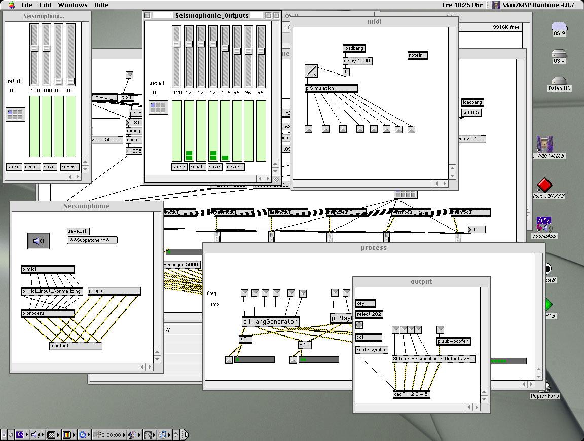 Verarbeitung der inputs von 8 Sensoren am Hebe-/Senkungsmechansmus