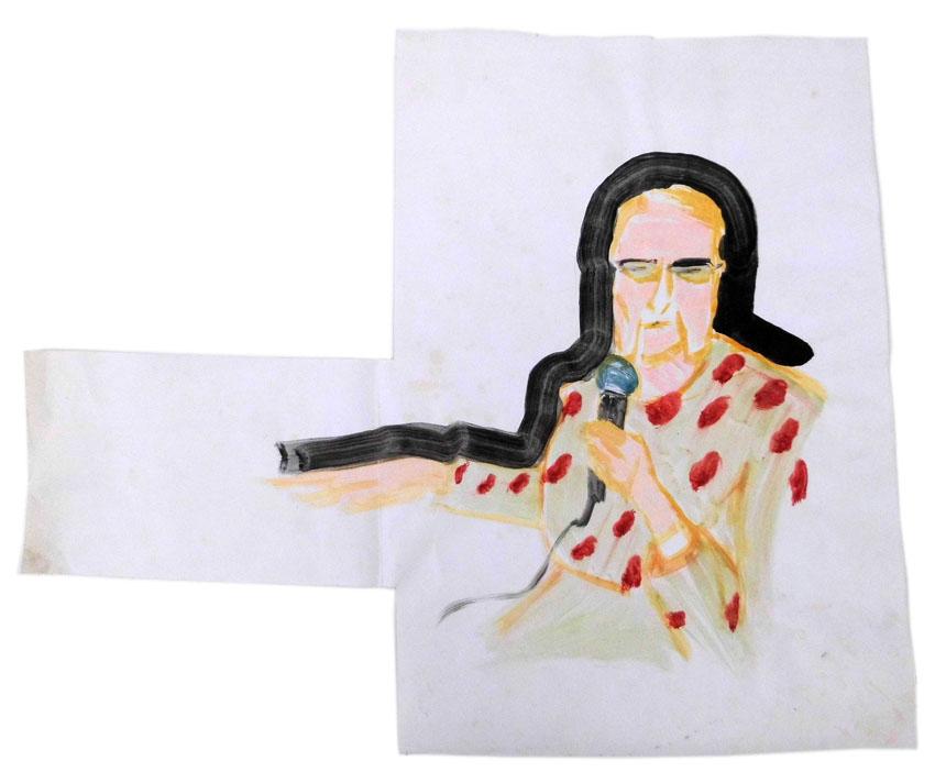 Frau mit Mikro 55 x 66 cm