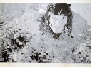 Flying Cosmonaut 2013, oil on wood, size: 83 x 151 cm
